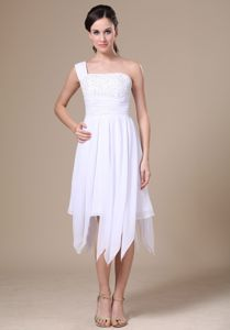 One Shoulder White School Winter Party Dress Asymmetrical Decorate in Washington