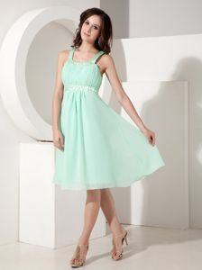 Straps Empire Knee-length Chiffon Beading School Autumn Party Dress in Charleston