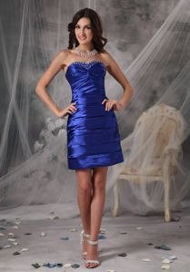 Custom Made Royal Blue School Winter Party Dress Sweetheart Beading form St. Paul