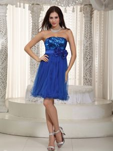 Sequin Organza Royal Blue Strapless Bowknot School Spring Party Dress in St. Paul
