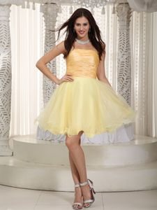 Ruching Light Yellow Strapless Mini-length for School Winter Party Dress form Boise