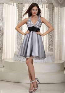Rolling Flower Gray A-line Halter Organza Sash School Autumn Party Dress in Helena