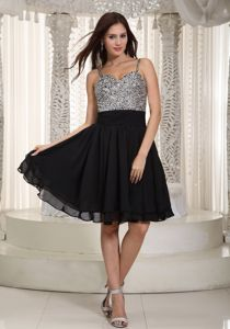 Beading Decorate Black Straps Mini-length School Autumn Party Dress in Hawaii