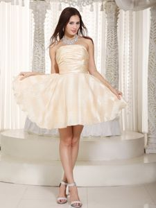 A-line Strapless Mini-length Taffeta Ruched Senior Graduation Dress in Carmel