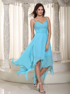 Baby Blue Chiffon College Graduation Dresses with Ruches in Lafayette