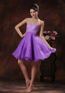 Lavender Short Appliqued Graduation Dress in Organza in Mobile Alabama