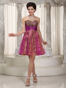 Colorful Sweetheart Leopard College Graduation Dresses with Beading