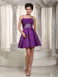 Mini-length Satin Beaded Senior Graduation Dresses in Purple in Kokomo