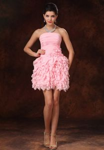 Strapless Ruffled Pink Senior Graduation Dresses with Hand Flowers in Peoria