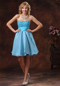 Sweetheart Beaded Mini-length Graduation Dresses in Baby Blue in Joliet