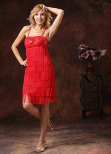 Red Embroidered Sequined College Graduation Dress with Spaghetti Straps