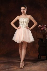 Beaded Strapless Mini-length Custom Made Graduation Dresses in Lisle