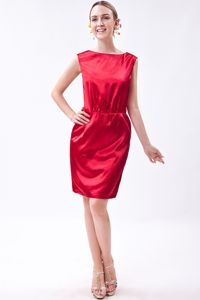 Wine Red Bateau Mini-length Taffeta Cheap Graduation Dresses in Addison