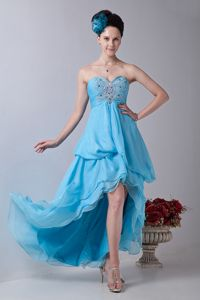 Baby Blue Sweetheart High-low Junior Graduation Dresses in Chiffon