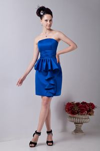 Royal Blue Strapless Satin Mini-length Graduation Dresses with Ruches