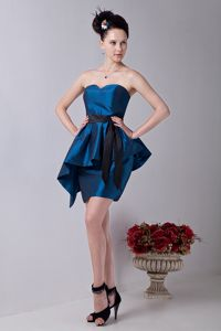 Sweetheart Taffeta Mini-length Blue Cheap Graduation Dresses with Sash