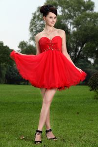 Sweetheart Beaded Mini-length Organza Graduation Dress in Red in Boise