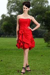 Red Strapless Mini-length Taffeta Senior Graduation Dress with Hand Flower