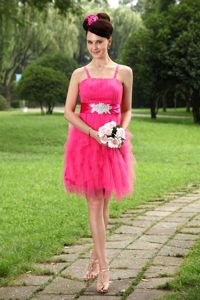 Hot Pink Straps Mini-length Tulle Cute Graduation Dresses with Sash in Kihei