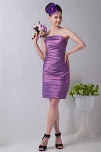 Lavender Strapless Mini-length Taffeta Ruched Graduation Dress in Lahaina