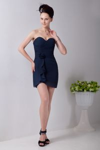Sweetheart Short Chiffon Hand Flowery Graduation Dress in Navy Blue