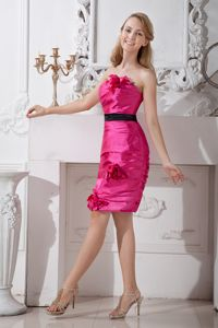 Strapless Taffeta Mini-length Graduation Dresses For Girls with Hand Flowers