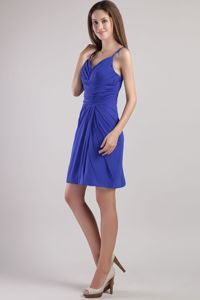 Royal Blue Mini-length Chiffon Cute Graduation Dresses with Beading