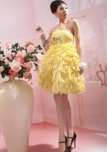 Ruffled Short Yellow Graduation Dress with Beading and Ruches in Valdosta
