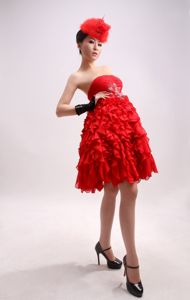 Beaded Chiffon Red Strapless Knee-length Cheap Graduation Dresses