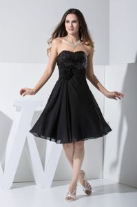 Hand Flowery Sequined Sweetheart Junior Graduation Dress in Black in Stuart