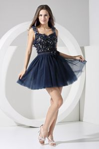 Hand Flowery Straps Mini-length Graduation Dress with Sash and Cool Back