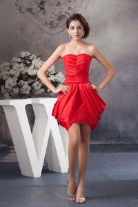 Ruched Mini-length College Graduation Dresses with Pick-ups in Red
