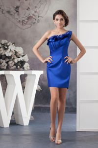 Ruched and Beaded One Shoulder Graduation Dress in Blue in Lakeland