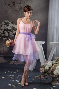 Baby Pink Graduation Dresses For Girls with Lavender Sash in Hollywood