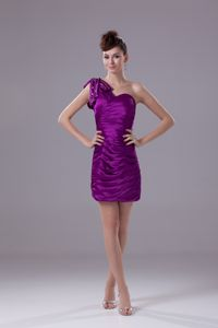 Ruched Beaded One Shoulder Cheap Graduation Dresses in Purple in Hialeah