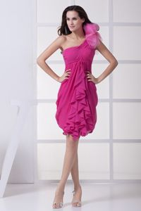 Flowery One Shoulder Fuchsia Graduation Dresses with Ruffles in Bradenton