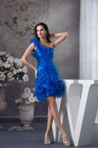 Blue One Shoulder Graduation Dresses For Girls with Ruches in Newark