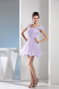 Mini-length Lilac Junior Graduation Dress with Ruches and Cap Sleeves