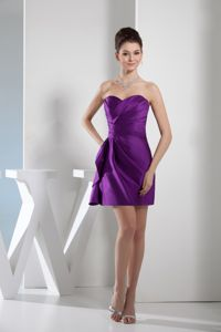 Purple Sweetheart Mini-length Senior Graduation Dresses with Ruching