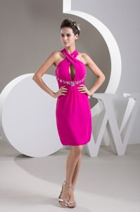 Halter Top Cool Back Short Beaded Grad Dress in Fuchsia with Cutout