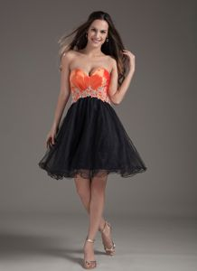 Orange Red and Black Sweetheart Grad Dresses with Appliques in Storrs