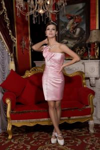 One Shoulder Taffeta Beaded Graduation Dress with Bowknot in Baby Pink