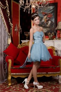 Light Blue Sweetheart Organza Senior Graduation Dresses with Beading