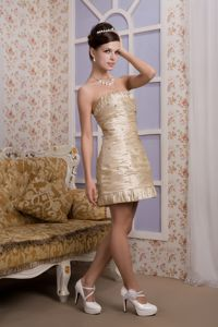 Strapless Mini-length Beaded Ruched Graduation Dress in Champagne