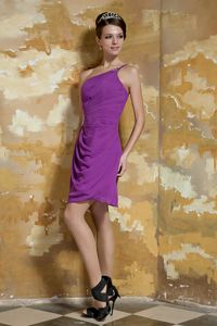 Lavender One Shoulder Mini-length Chiffon Cute Graduation Dresses in Vista