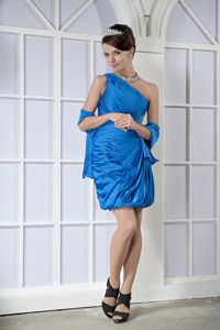 One Shoulder Mini-length Taffeta Beaded Grad Dresses in Sky Blue in Tarzana