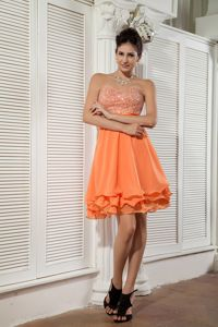 Orange Sweetheart Mini-length Graduation Dresses with Beading in Oakland