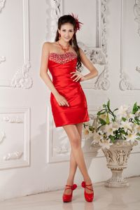 Red Sweetheart Satin Beaded Mini-length College Graduation Dresses in Napa