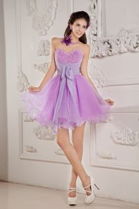 Cute Lavender Sweetheart Mini-length Graduation Dresses with Beading