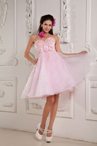 Beaded Appliqued Custom Made Graduation Dress in Baby Pink in Malibu